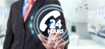 Businessman using hotline customer assistance 3D rendering. Businessman on blurred background using hotline customer assistance 3D rendering Stock Photos