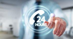 Businessman using hotline customer assistance 3D rendering. Businessman on blurred background using hotline customer assistance 3D rendering Royalty Free Stock Photo