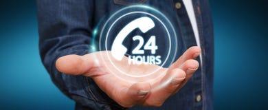 Businessman using hotline customer assistance 3D rendering. Businessman on blurred background using hotline customer assistance 3D rendering Royalty Free Stock Images