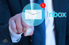 Businessman using  interface to receive message notification. Businessman using futuristic interface to receive message or email notification Royalty Free Stock Photography