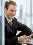 Businessman using laptop Royalty Free Stock Photos