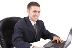 Businessman Using Laptop Stock Photos