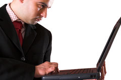 A Businessman using laptop Royalty Free Stock Images