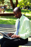 Businessman using laptop. In the park stock photography