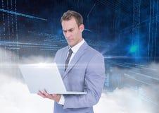 Businessman using laptop against digitally generated background Stock Image