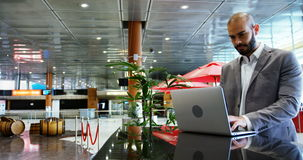 Businessman using a laptop stock footage