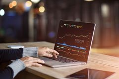 Businessman using laptop analyzing data stock market. Businessman using laptop for analyzing data stock market, forex trading graph, stock exchange trading royalty free stock photography