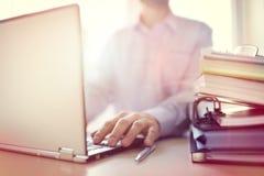 Businessman using laptop computer stock images
