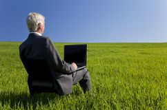 Businessman Using Laptop Computer in Green Fie Royalty Free Stock Photography