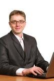 Businessman using laptop computer Stock Photo
