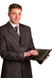 Businessman using laptop computer Royalty Free Stock Photo