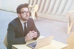 Businessman using laptop computer Stock Photography