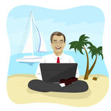 Businessman using laptop computer on tropical beach sitting in lotus pose Stock Image