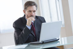 Businessman Using Laptop At Desk Royalty Free Stock Images