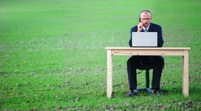 Businessman using laptop in field with copyspace Royalty Free Stock Photography