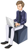 A businessman using a laptop Royalty Free Stock Photography