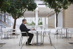 Businessman Using Laptop At Office Cafe Stock Photos