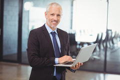 Businessman using laptop in office Royalty Free Stock Image