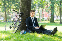 Businessman Using Laptop In Park Royalty Free Stock Photos