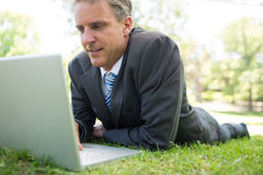 Businessman using laptop in park. Businessman using laptop while lying on grass in park Stock Image