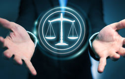 Businessman using law protection right 3D rendering Stock Photography