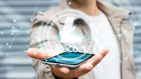Businessman using litecoins cryptocurrency 3D rendering. Businessman on blurred background using litecoins cryptocurrency 3D rendering Stock Image