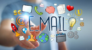 Businessman using manuscript contact text Royalty Free Stock Image