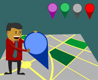Businessman using map marker - business site selection concept. Business site selection concept. Adding marker to specific place stock illustration