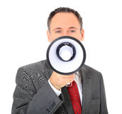 Businessman using megaphone Royalty Free Stock Photography