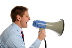 Businessman Using Megaphone Stock Photos
