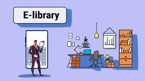 Businessman using mobile app e-library concept business man reading book online library smartphone screen workplace. Office interior horizontal full length vector illustration