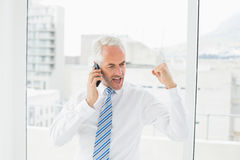 Businessman using mobile phone while clenching fist Royalty Free Stock Image