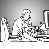 Businessman using mobile phone on his messy working desk vector. Illustration doodle sketch hand drawn with black lines  on gray background. Business concept Stock Photography