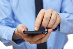 Businessman using mobile smart phone Royalty Free Stock Photos