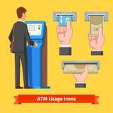 Businessman using modern ATM machine Stock Photos