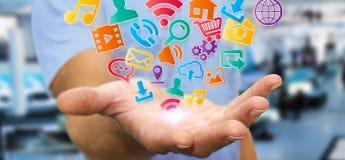Businessman using modern digital icon application Royalty Free Stock Image