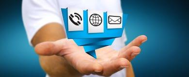 Businessman using modern digital origami icon application Stock Photography