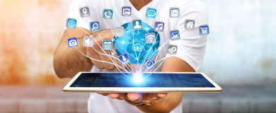 Businessman using modern digital tablet applications Royalty Free Stock Images