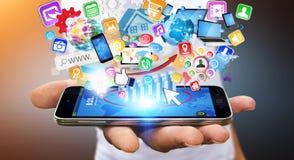 Businessman using modern mobile phone Royalty Free Stock Image