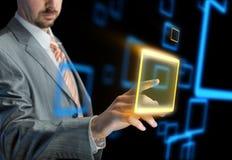 Businessman using modern virtual interface Royalty Free Stock Photography