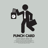 Businessman Using Punch Card For Time Check Royalty Free Stock Photos