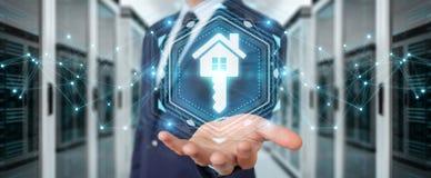 Businessman using real estate digital interface 3D rendering. Businessman on blurred background using real estate digital interface 3D rendering Stock Images