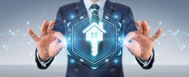 Businessman using real estate digital interface 3D rendering. Businessman on blurred background using real estate digital interface 3D rendering Stock Photography
