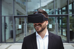 Businessman using reality virtual headset Stock Images