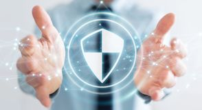 Businessman using shield safe protection with connections 3D ren. Businessman on blurred background using shield safe protection with connections 3D rendering Royalty Free Stock Image