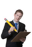 Businessman using silly pencil Stock Photography