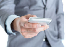 Businessman using smart phone. Royalty Free Stock Photo