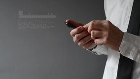 Businessman using smartphone. Hands scrolling and taping the screen Stock Images