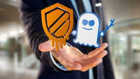 Businessman using a smartphone with a Meltdown and Spectre proce. View of a Businessman using a smartphone with a Meltdown and Spectre processor attack with Royalty Free Stock Photography