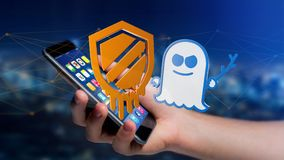 Businessman using a smartphone with a Meltdown and Spectre proce. View of a Businessman using a smartphone with a Meltdown and Spectre processor attack with Stock Image